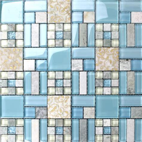 hexagon mosaic tile backsplash backsplash tiles kitchen blue glass blend mosaic