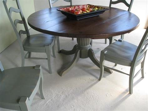 custom farm table with pedestal base and matching