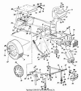 Mtd 14ap849p131  1997  Parts Diagram For Lift Handle  Lift Pivot Bracket  And Rear Wheel Assembly