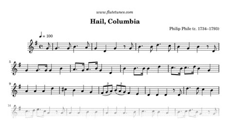 hail columbia p phile  flute sheet