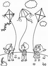 Coloring Flying Kites Children Clip Illustrations Cartoon Playing Boys Searches sketch template