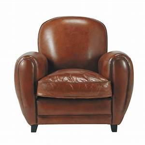Fauteuil Vintage Maison Du Monde : fauteuil club en cuir marron oxford maisons du monde ~ Teatrodelosmanantiales.com Idées de Décoration