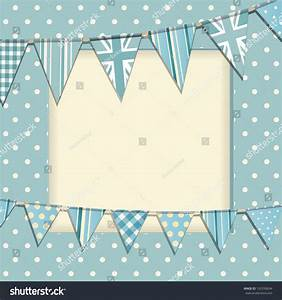 Vintage Bunting Background On Blue Polka Stock Vector ...