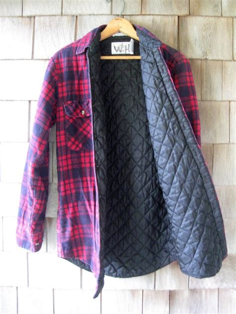 flannel shirt jacket with quilted lining plaid flannel shirt jacket quilted and lined 90s grunge