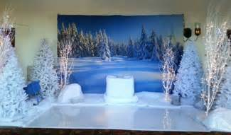 winter themed and frozen theme decorations and production services for a frozen theme event