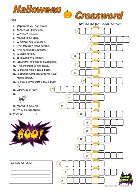 halloween crossword worksheet  esl printable