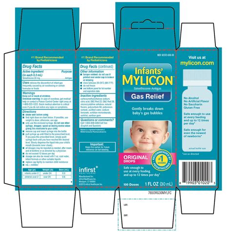 Mylicon Infants Gas Relief Original Information Side