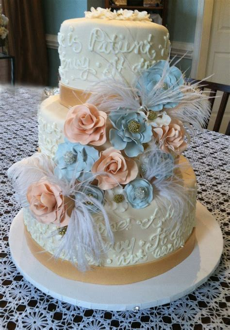 17 Best Images About Peach And Blue Wedding Cake Ideas On