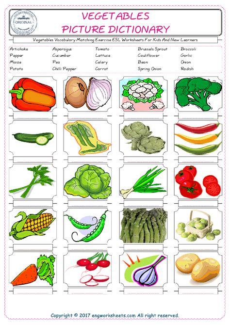 vegetables esl printable english vocabulary worksheets