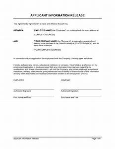 Authorization To Release Information Template Example  U2013 10