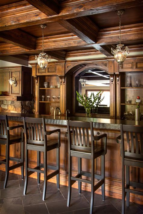 Unique Home Bars by The Striking Wood Coffered Ceiling In This Lower Level
