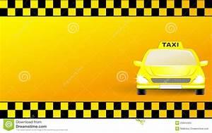 Cartão com o carro do táxi no fundo amarelo