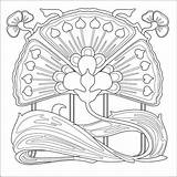 Nouveau Coloring Patterns Deco Printable Mucha Pattern Alphonse Colouring Adults 1920s Flowers Embroidery Adult Flower Quilting Everfreecoloring Etc Tattoo Sheets sketch template