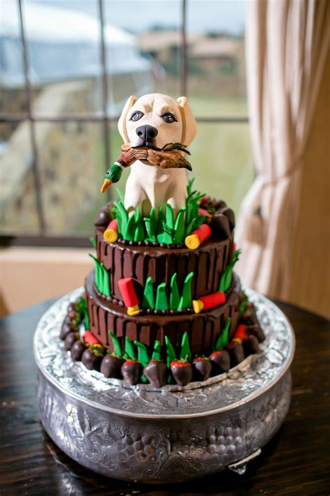 whimsical grooms cake  hunting dog topper