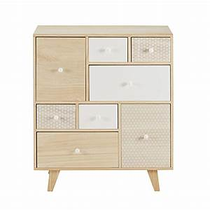 Cabinet Maison Du Monde : cabinet 8 tiroirs en paulownia spring maisons du monde ~ Nature-et-papiers.com Idées de Décoration