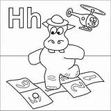 Coloring Hopscotch Letter Pages Hat Hippo Helicopter Preschool Alphabet Coloringpages Halloween Activities Coloringpages4u 1000 Crafts Dora Zoo Letters sketch template