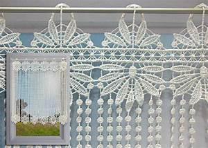 Rideau Macramé Au Mètre : brise bise macram cru motif fleurs et perles rideau macram pas cher ~ Teatrodelosmanantiales.com Idées de Décoration