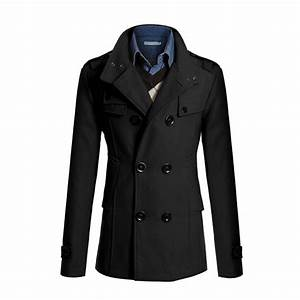 Mens Casual Coat Peacoat Solid Winter Slim Fit Double ...