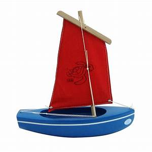 Spirited Mama Wooden toy sailing boat blue-red 203 (turtle