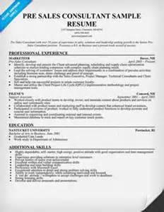sle resume pre sales consultant cover letter entry