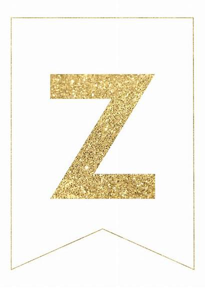 Banner Gold Letters Printable Letter Alphabet Banners