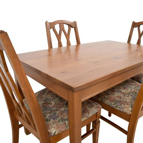 83% OFF   Wood Kitchen Table and Floral Upholstered Chairs