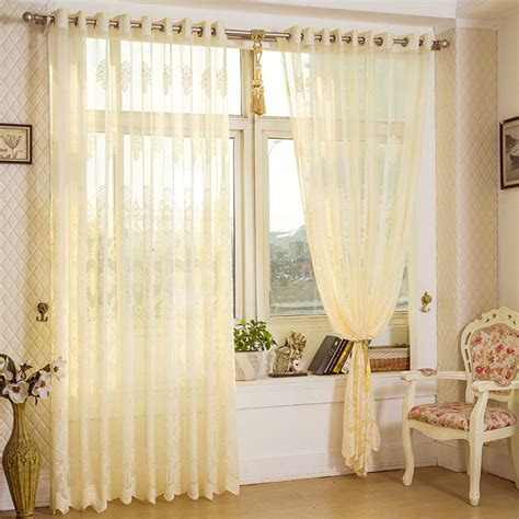 2 panel beige hollow out sheer tulle curtains window