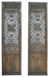 Wooden door wall decor : Pair carving tall wood door panels asian wall
