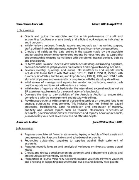 Resume For Audit Associate by My Resume 2015 Revised