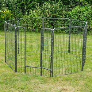 8 panel heavy duty pet playpen cage for dog rabbit metal for Dog run cage enclosure