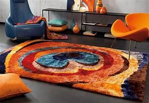 tapis shaggy multicolore en polyester doux funky arte espina With tapis shaggy multicolore