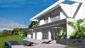 villa d39architecte contemporaine sur terrain en pente avec With piscine a debordement sur terrain en pente