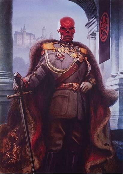 Marvel Skull Captain America Painting Comic Villains