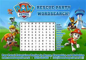 Paw Patrol Wordsearch - Childrens Entertainer Parties