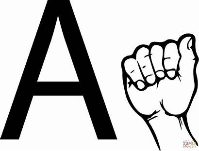 Asl Letter Language Sign Coloring Pages Printable