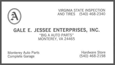Auto Parts Monterey by Highland County Virginia Information