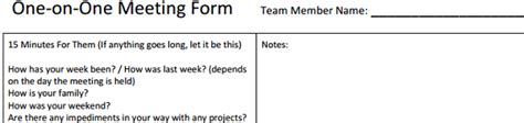 1 on 1 meeting template one on one meeting form for leaders