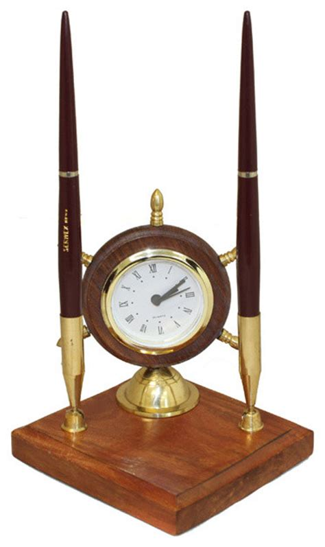 Nautical Themed Clock And Pen Desk Set Office Acessory