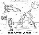 Moon Coloring Astronaut Space Printable Nasa Landing Lunar Drawing Apollo Cartoon Buggy Spaceship Rover Solar Crafts Wheeled Gravity Automobile Four sketch template