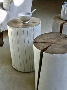 Baumstamm Als Tisch : diy idee ein bemalter holzstamm als tisch basteln in ~ Watch28wear.com Haus und Dekorationen