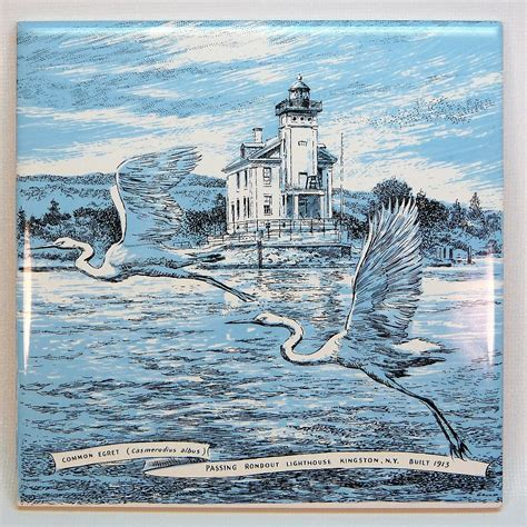 ceramic wall tile or trivet rondout lighthouse egrets