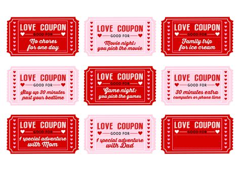 Love Coupons  New Calendar Template Site