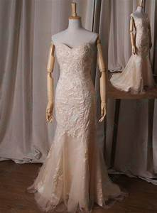 Lj227 light champagne gold colored sweetheart neck lace for Champagne gold wedding dress