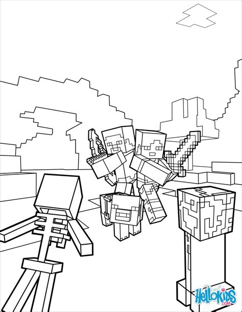 minecraft coloring page fight   mobs coloring pages hellokidscom
