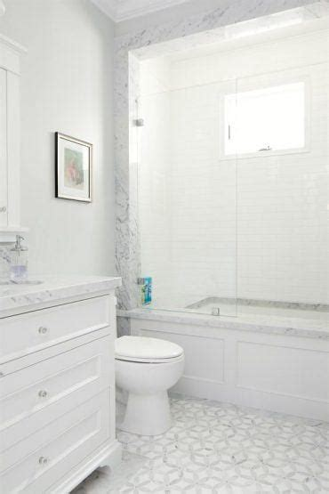 patterson custom homes small white bathroom  gray