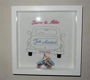 Hochzeitsgeschenk Bilderrahmen Auto : just married in blau wir schreiben nat rlich auch frisch verheiratet gesticktes ~ Eleganceandgraceweddings.com Haus und Dekorationen