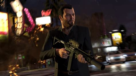 gta  screenshots show michael  beard assault rifles