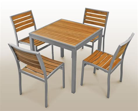 teak inlay aluminum table stiat restaurant furniture