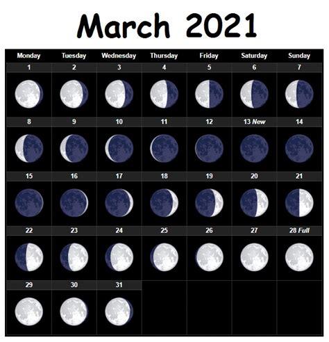 march  moon phases lunar printable calendar