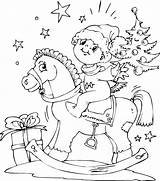 Horse Rocking Coloring Christmas Boy Pages sketch template